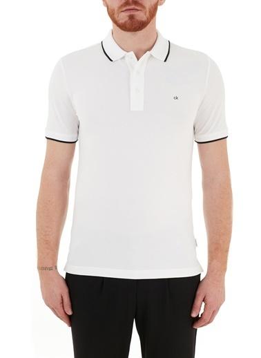 Calvin Klein  Slim Fit Pamuklu Düğmeli Polo T Shirt Erkek Polo K10K107211 Yaf Beyaz